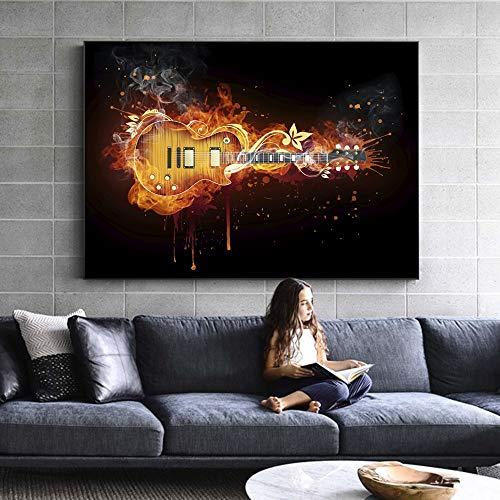 QWESFX E-Gitarre Ölgemälde Druck auf Leinwand Abstrakte Gitarre Wandkunst Leinwanddrucke Modernes Bild für Wohnzimmer Dekor (Druck ohne Rahmen) A 35x70CM