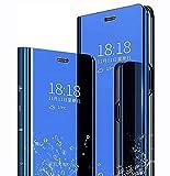 LINER Funda para Samsung Galaxy A72 5G Estuche, Espejo Carcasa Ultra Slim Ligero Flip Libro Funda Clear View Standing Cover Mirror PC + PU Protectora Bumper Soporte Plegable Case - Azul