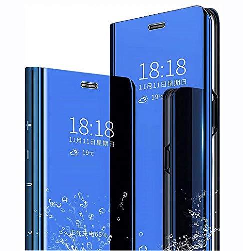 LINER Funda para Xiaomi Redmi 9T Estuche, Espejo Carcasa Ultra Slim Ligero Flip Libro Funda Clear View Standing Cover Mirror PC + PU Protectora Bumper Soporte Plegable Case - Azul