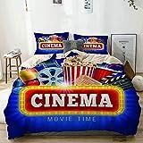 Funda nórdica beige, película azul, cine, palomitas de maíz, bebida, tablero para aplaudir, cinematógrafo, rollo de película realista, juego de cama de microfibra impresa de calidad de 3 piezas, diseñ