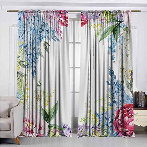 Flower Printed Curtain Drape Microfiber Springtime Fragrance Garland with Bunch of Flowers Lilac Lavender Rose Peony Artsy Print High Performance in Privacy protectio