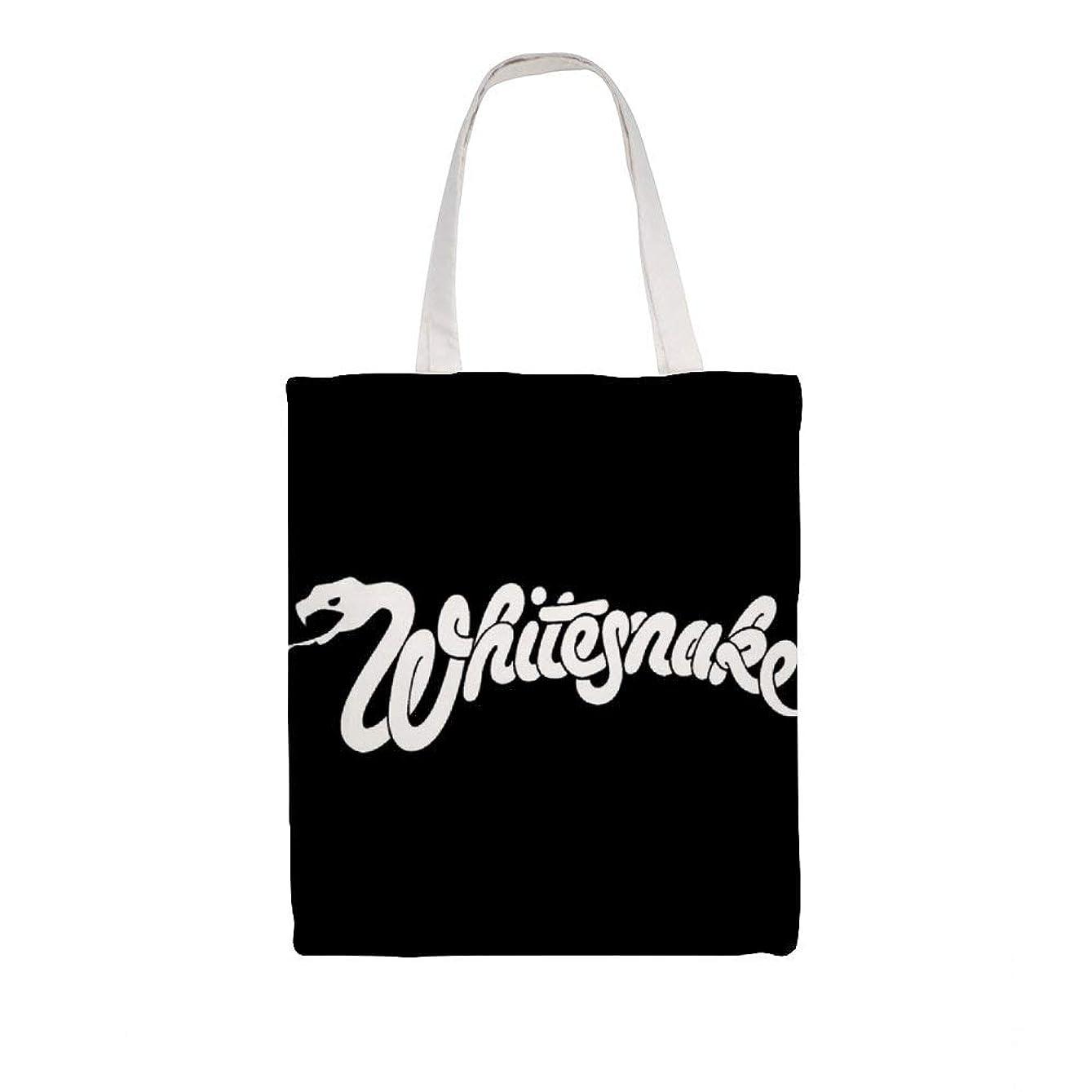 精神医学敵対的勝利したズックバッグ トートバッグ 手提げ袋 大容量 ショルダー 買い物 旅行 質感 収納便利 耐久性 人気 おしゃれ 軽量 鞄 Whitesnake Logo 38*41cm