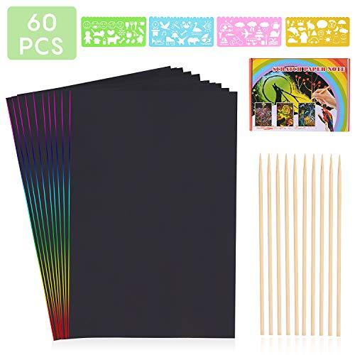 HellDoler Manualidades para Niños,60 Hojas Scratch Art Cuadernos para Dibujar Papel de Rascar Incluye 4 Plantillas de Plantillas de Dibujo y 6 Lápices de Madera