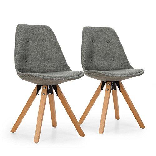 OneConcept Iseo - Schalenstuhl, Retrostuhl, Esszimmerstuhl, 70er-Jahre-Look, Retro-Design, 2er Stuhl-Set, breite, leicht Gebogene Sitzfläche, gepolsterte PP-Schale, Sitzhöhe von 47 cm, grau
