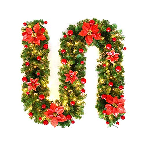 Easyeeasy Artificial Christmas Garland Prelit with LED Lights for Fireplace Stairs Garland Party Accessories Decoration