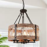 Anmytek Round Wooden Chandelier with Clear Glass Shade Rope and Metal Pendant Five Decorative Lighting Fixture Retro Rustic Antique Ceiling Lamp, C0003 Brown