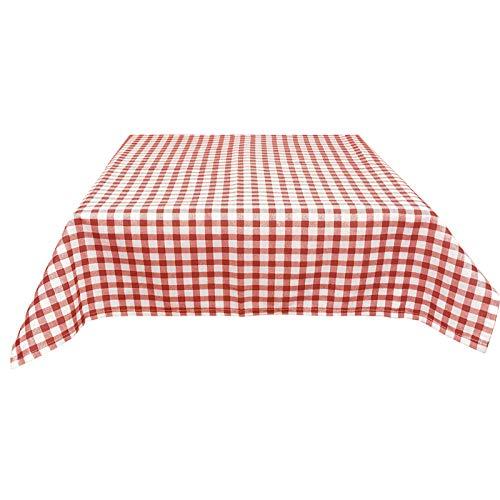 JEMIDI Mantel de tela para mesa de bistro, diseño de cuadros, 90 x 90 cm, color rojo