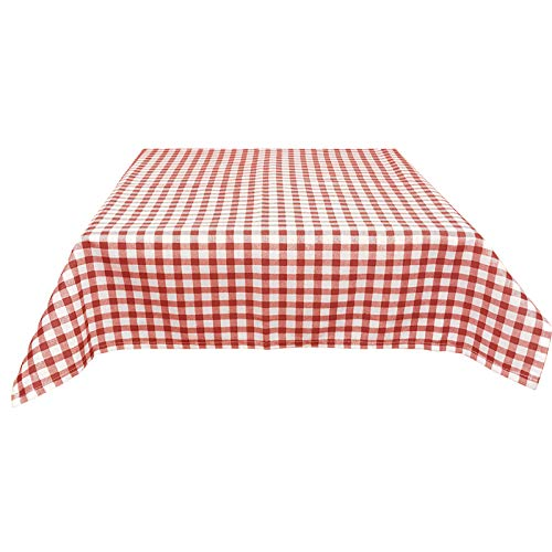 JEMIDI Stofftischdecke für Bistrotische Tischdecke kariert Tischdecken Decke Tisch Tischdecken 90cm x 90cm Rot Karo