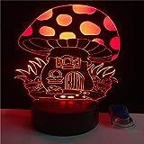 wangZJ 3d luces para niños / 3d ilusión led lámpara luz de noche/iluminación para niños/cumpleaños/niños regalo/decoración de la habitación/seta