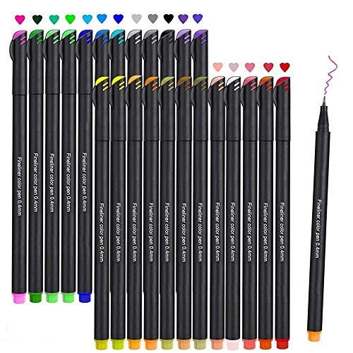 Filzstift, Beupro 24 Farben Fineliner Stiften pigment Liner Set — Feine Filzstifte 0.4mm Spitze, Ideal für Kalligraphie, zum Präzisionszeichnen, Schreiben, Malen für Erwachsene, Comics, Mang