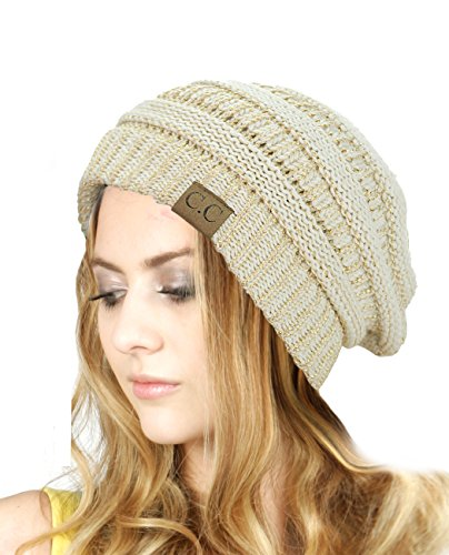 C.C Trendy Warm Chunky Soft Stretch Cable Knit Beanie Skully, Ivory/Met. Gold