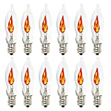 Flicker Flame Light Bulb, Flame Shaped Replacement Bulbs Dances with a Flickering Orange Glow, 1 Watt, 120 Volt, E12 Flame Candelabra Light Bulbs,12 Pack