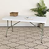 EMMA + OLIVER 5-Foot Granite White Plastic Folding Table - Banquet/Event Folding Table