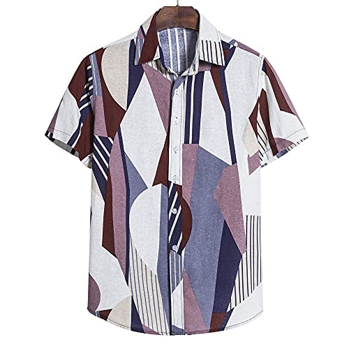T-Shirt Hombre Verano Estampado Vintage Tapeta con Botones Hombre Shirt Transpirable Clásica Cómoda Manga...