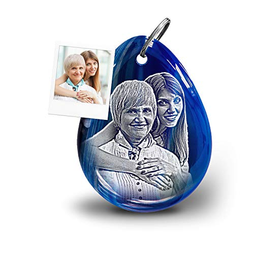 my-Pebbles: Edelstein als Anhänger mit Fotogravur als persönliche Geschenke für Männer, den Papa oder Partner Glücksbringer   Pebble 2 Go Achat Blue Ocean