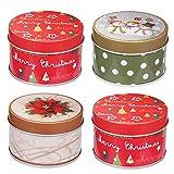 4pcs Weihnachtsdose Keksdosen Geschenkbox Runde Süßigkeit Dosen Plätzchendose Gebäckdose Vorratsbehälter mit Deckel 7,5 x 7,5 x 5 cm (Zufälliges Muster)