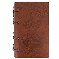 Genuine Leather Journal with The Marauder's Map Cover on the Cover - From Harry Potter Movies