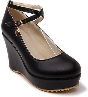 Wedges Heel Platform Oxford Women Non Skid Mary Jane Buckle Strap Pump Dress Shoes