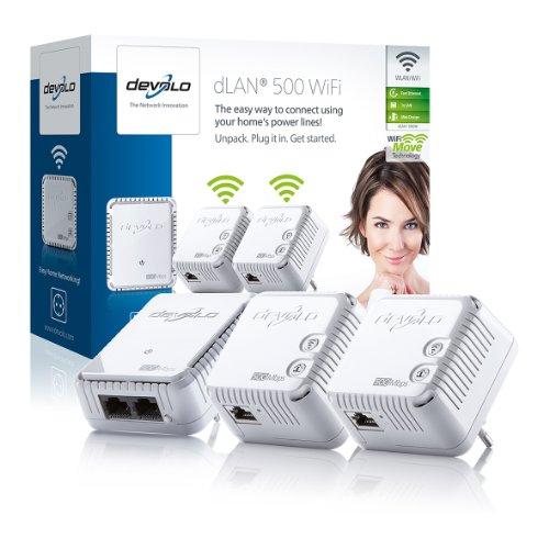 Devolo dLAN 500 WiFi Karten- und Netzwerkadapter (kabelgebunden, für Steckdose, Ethernet, 500 Mbit/s, weiß)