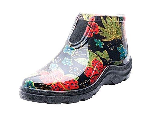 [Sloggers] 【 レインシューズ 】 一日中履いても疲れない アメリカ製 ゴム臭くない 長靴 レインシューズ 通勤 農作業 園芸 防災 アウトドア フェス 散歩 防水作業靴 スローガーズ 花柄 ブラック アンクルブーツ S 22.5cm サイズ6