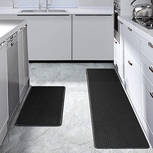 GUSUWU Set di tappetini da cucina in ciniglia lavabili e antiscivolo, resistenti alla polvere (2 pezzi nero, 44 cm x 75 cm + 44 cm x 150 cm)