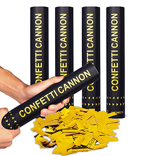 HICONFETTI 4 Pack Gold Confetti Cannons for Indoor/Outdoor Celebration, New Years, Birthday, Surprise Party, Baby Shower, Graduation, Wedding, Festival, Anniversary, Event and Party Supplies