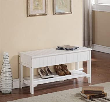 Roundhill Furniture Quality Solid Wood Shoe Bench with Storage, White
