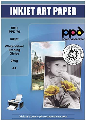 """PPD A4 Professionelles Inkjet Fine Art Etching Giclée-Papier """"White Velvet"""" Matt - Säurefrei und Archivierbar - 270g A4 x 25 Blatt-PPD076-25"""