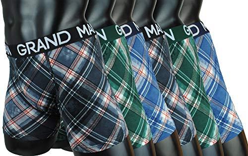 Garcia Pescara ® Men Herren Unterhosen 6er Pack Boxershorts Baumwolle Männer Retroshorts Tarnfarben Camouflage Hanf Cannabis Blätter M L XL XXL (XL, Rautenstyle)
