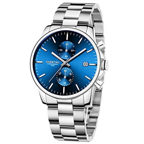Reloj de Cuarzo con cronógrafo de Acero Inoxidable y Metal, Resistente al Agua, con Fecha automática en manecillas Coloridas (Azul Plateado)