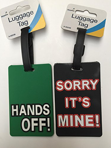 PMS 2x novelty Luggage tag–Hands off & Sorry its mine