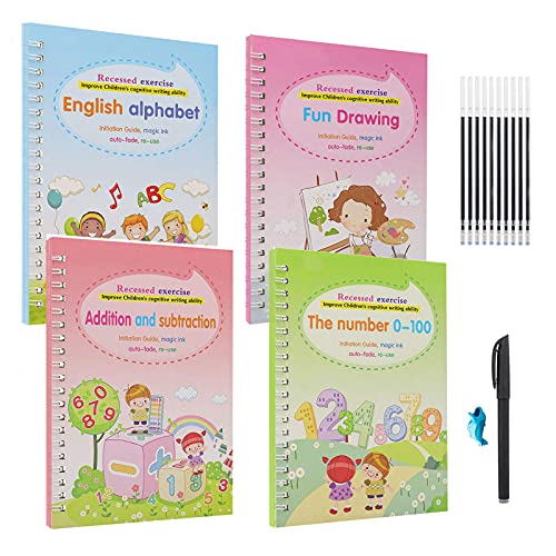 Magic Copybook for Kids   Magic Practice Copybook English   Magic Calligraphy That Can Be Reused Handwriting Copybook Set   Letter Writing Drawing Mathematics Writing Tool for Age 3-5 (4Pcs, N)
