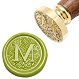 Letter M Wax Seal Stamp, Yoption Brass Head Botanical Alphabet Initial Sealing Stamp with Wooden Handle