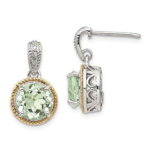 Pendientes colgantes de plata de ley 925, diseño de diamante de cuarzo, color verde