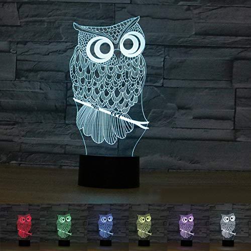 Coolzon 3D Led Lampara de Mesilla de Noche luz Nocturna Infantil 7 Cambiar el Color botón táctil Búho luz de Noche Regalos Originales Bautizos Luces Decorativas habitacion