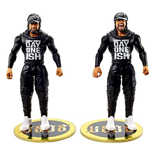 WWE Pack 2 figuras de acción luchadores Jummy y Jey Uso con accesorios, muñecos articulados de juguete para niños +6 años (Mattel GVJ28)