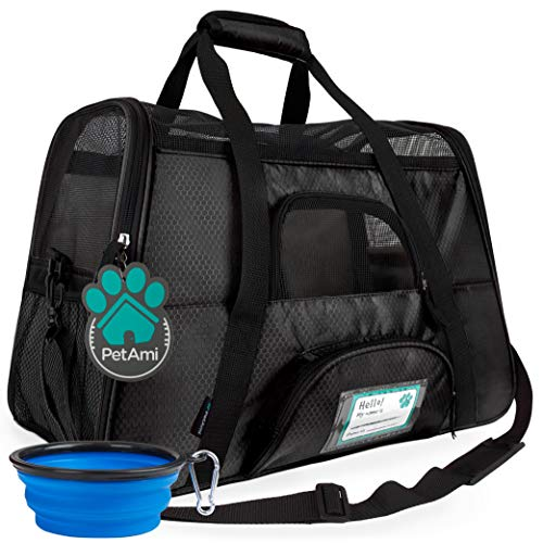 PetAmi Premium Airline Approved Soft-Sided Pet Travel Carrier | Ideal for Small - Medium Sized Cats, Dogs, and Pets | Ventilated, Comfortable Design with Safety Features (Large, Black)