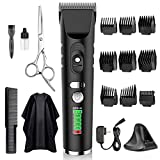 Hair Clippers for Mens, Clippers for Hair Cutting, Mens Hair Clippers Professional Kit Electric Haircut Kit,9 Guide Combs, Scissor, Salon Capes