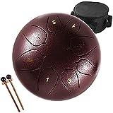 lomuty steel tongue drum, 8 pollici 8 note do maggiore accordato tamburi in acciaio, strumento a percussione con bacchette per tamburi e borsa (viola scuro)