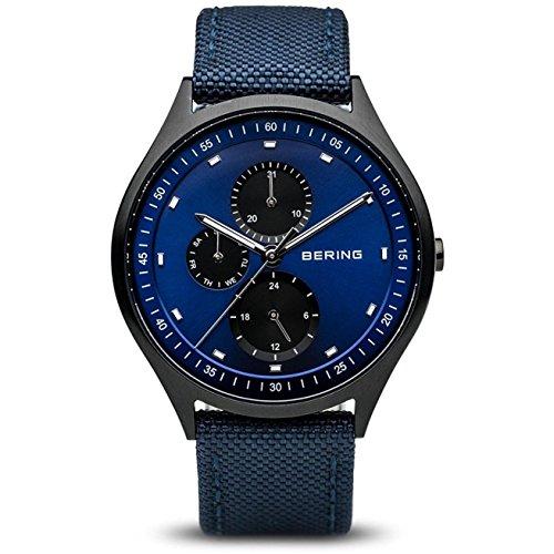 BERING Herren Analog Quarz Uhr mit Stoff Armband 11741-827