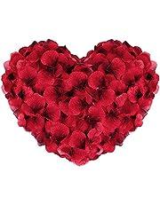 Vegena 2500 stuks rozenblaadjes, zijden rozenblaadjes rozen blaadjes bloesem kunstbloemen zijden bloemen voor romantische sfeer en bruiloft, geboorte, doop, Valentijnsdag, verjaardag party decoratie (rood)