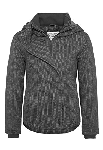 Sublevel Damen Winterjacke mit Kapuze | Gemusterte Jacke im Sportlichen Look in Rot, Blau, Weiß & Schwarz Dark-Grey L