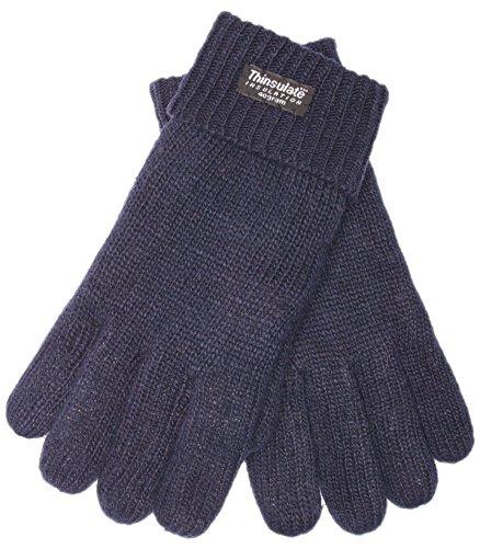 EEM Damen Strick Handschuhe JETTE mit Thinsulate Thermofutter aus Polyester, Strickmaterial aus 100% Wolle; marine, L