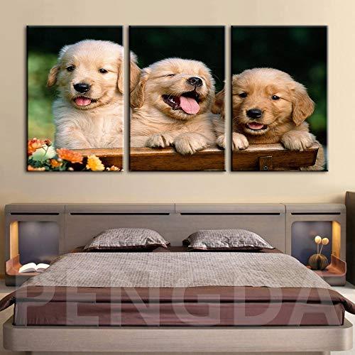 Pintura sin Marco Decoración del hogar Animal Lindo Perro Arte Imagen Mural salón Moderno Estilo modularZGQ3288 40x80cmx3