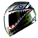 WOW Motorcycle Full Face Helmet Street Bike BMX MX Youth Kids Shark Green