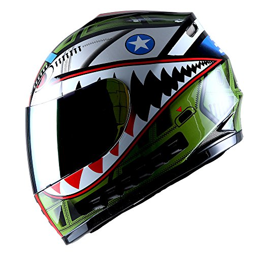 WOW Motorcycle Full Face Helmet Street Bike BMX MX Youth Kids Shark Green; Size M (51-52 cm 19.7/20.3 Inch)