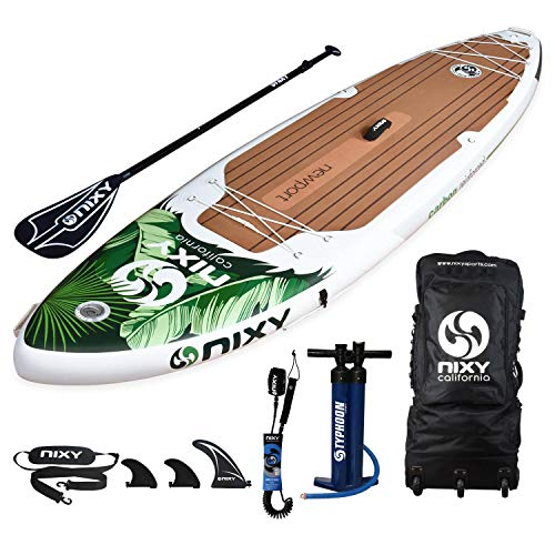 "NIXY Newport Paddle Board All Around Inflatable SUP 10'6"" x 33"" x 6"" Ultra-Light Stand Up Paddleboard Built with Dual Layer Dropstitch Includes Paddle, Leash, Pump, Shoulder Strap, and Bag"