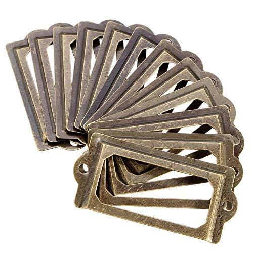ISKYBOB 24 unidades de portatarjetas de metal para muebles, gabinetes, cajones, color bronce