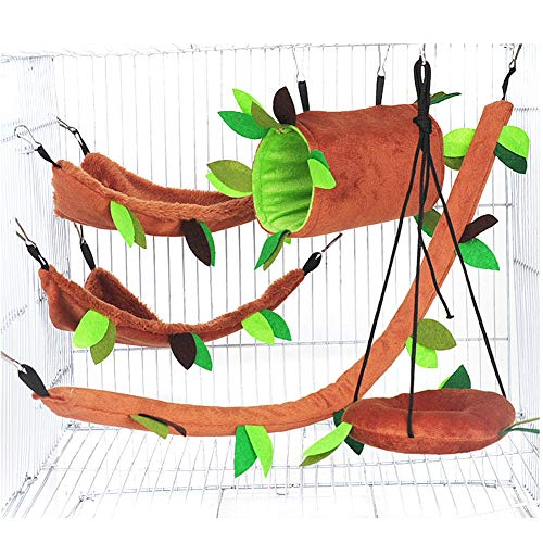 Fushida 5 Pcs Hamster Swing Toys Set, Small Animals Cage Playing Hammocks Hanging Beds For Rat Squirrel Hedgehog Chinchillas Guinea Pig Cage Toys