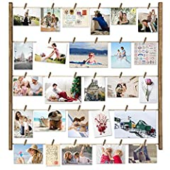 """【Multi Photo Display】 - The wood photo frame comes with 30 """"clothespins"""", 6 short wood pieces and 5 twine cords, which satisfies multi pictures display 【Wonderful Decoration 】- Great way to organize and display pictures, casual and neat design; fun a..."""